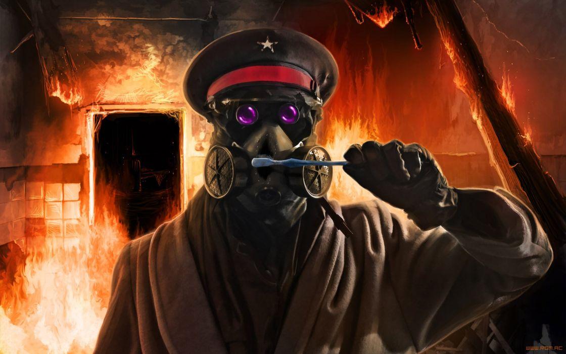z Romantically Apocalyptic fantasy sci-fi dark mask gas wallpaper