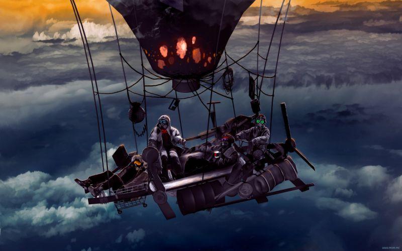 robot cyborg Romantically Apocalyptic fantasy sci-fi ballon sky clouds artwork y wallpaper