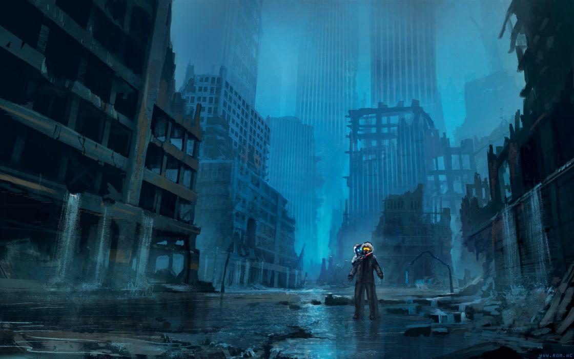 q Romantically Apocalyptic fantasy sci-fi city ruins wallpaper
