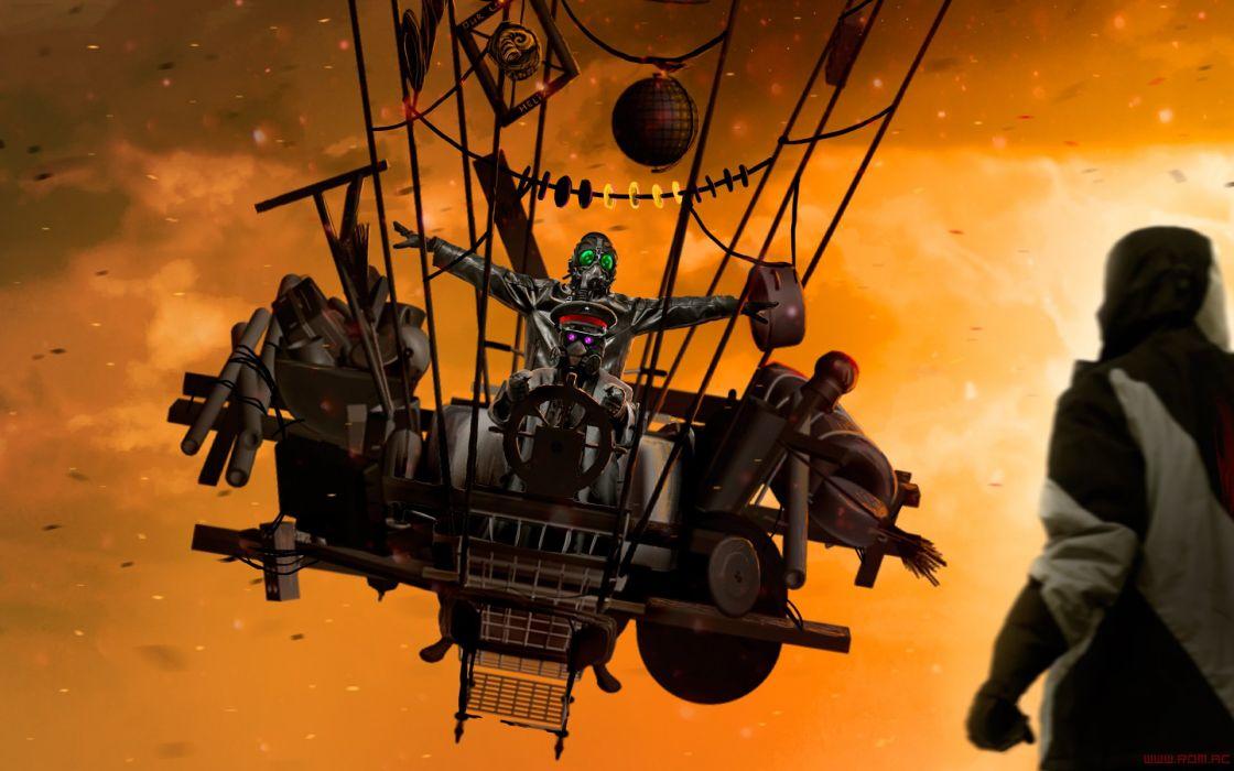 steampunk comics cyborg mask gas Romantically Apocalyptic fantasy sci-fi ballon sky clouds artwork  t wallpaper