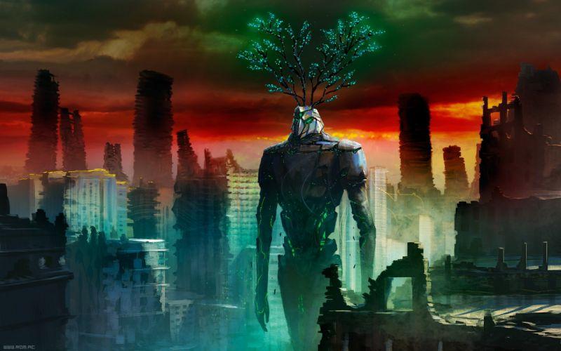 p Romantically Apocalyptic fantasy sci-fi city ruins monster wallpaper