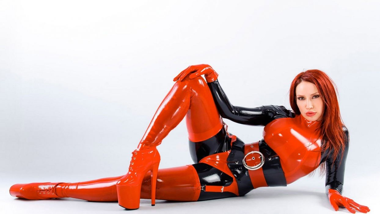 sexy babe latex fetish adult wallpaper
