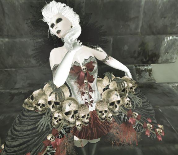 dark gothic skull fantasy wallpaper