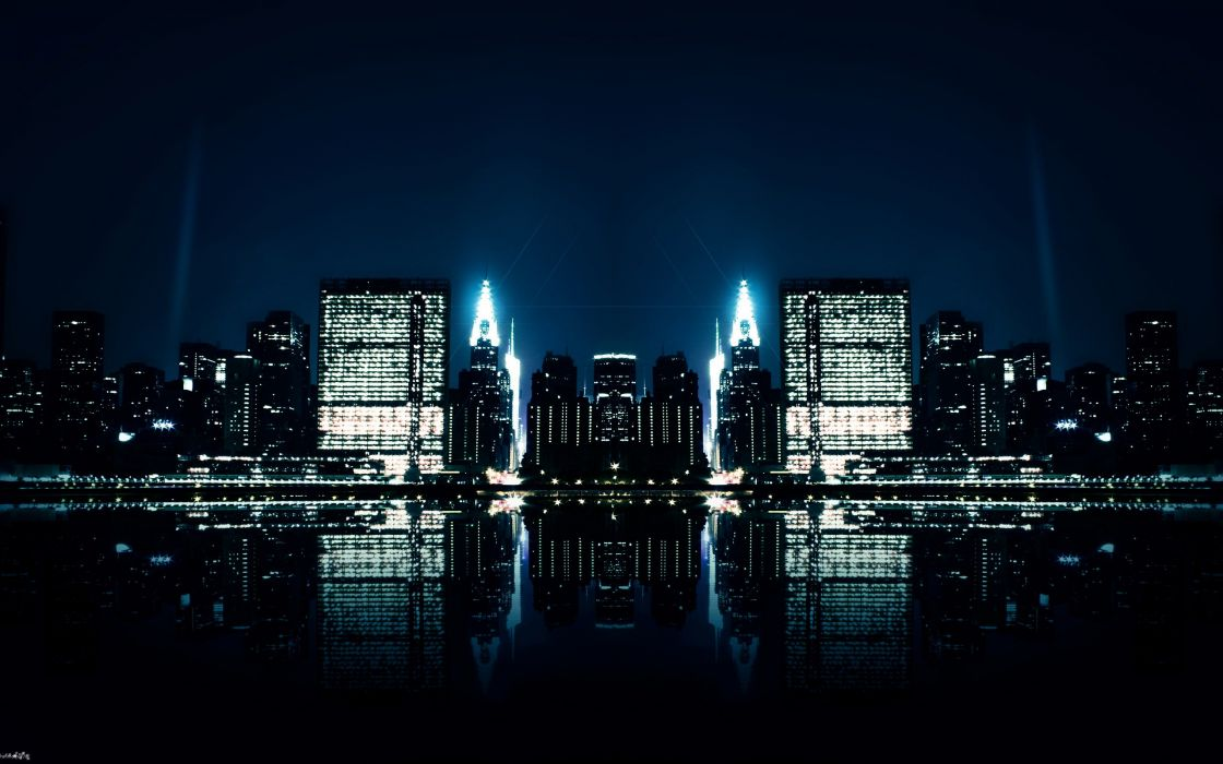 city night reflections-wide wallpaper