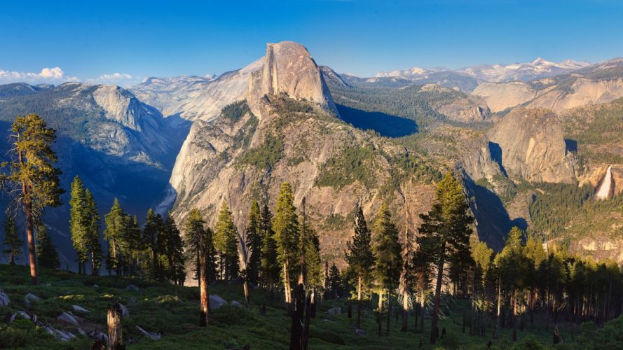 mountains landscapes nature trees forests valleys skyscapes wallpaper