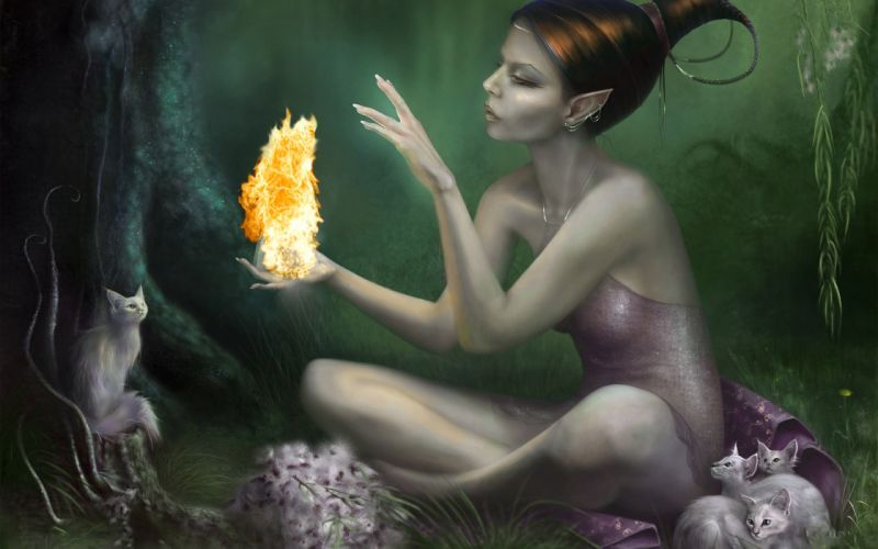 women cats fire fantasy art elves digital art wallpaper