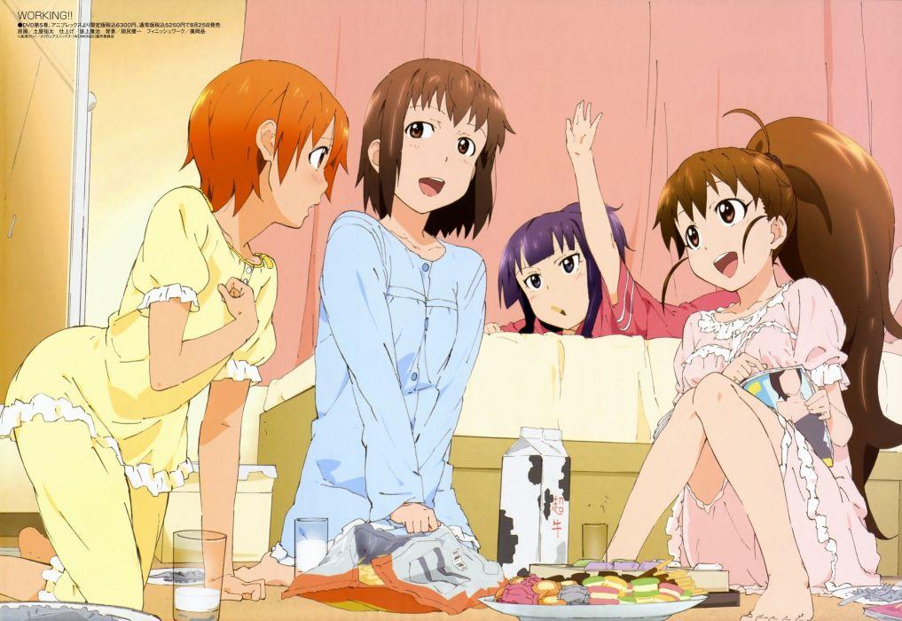 Working!! (Anime) Yamada Aoi Taneshima Popura  Inami Mahiru wallpaper