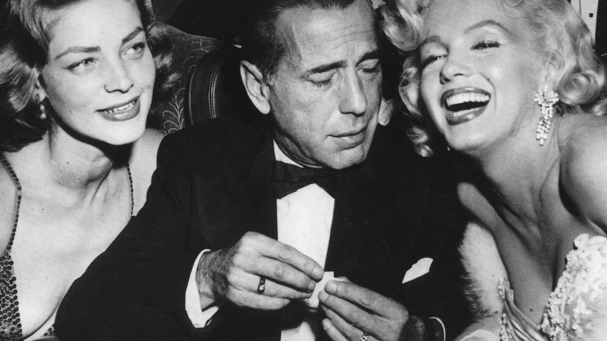 Humphrey Bogart Lauren Bacall Marilyn Monroe monochrome wallpaper