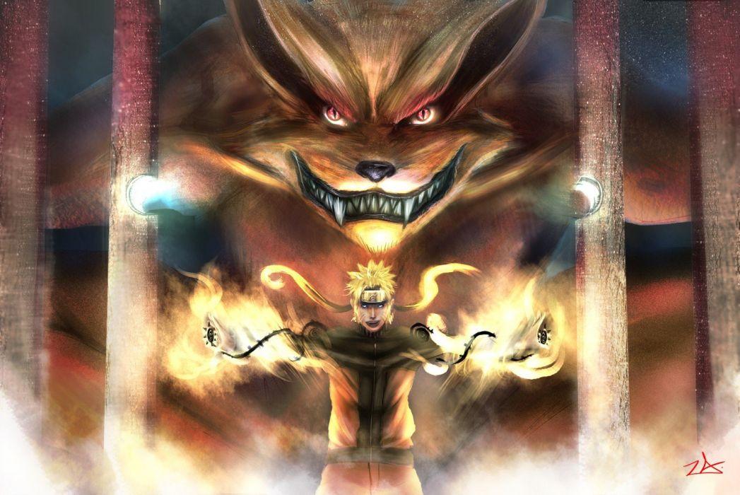lights fire demons Naruto: Shippuden red eyes cage Kyuubi teeth manga Uzumaki Naruto Naruto: Chakra Mode Bijuu wallpaper