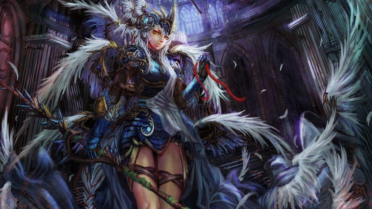women fantasy wings valkyrie feathers fantasy art digital art artwork wallpaper