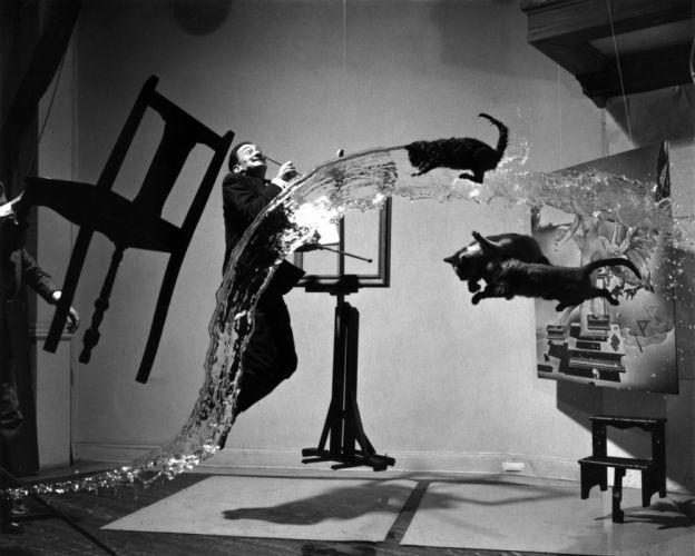 water black white cats surrealism Salvador DalAIA wallpaper