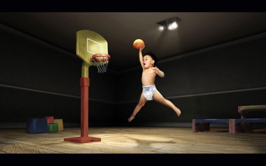 baby funny slam dunk kide wallpaper