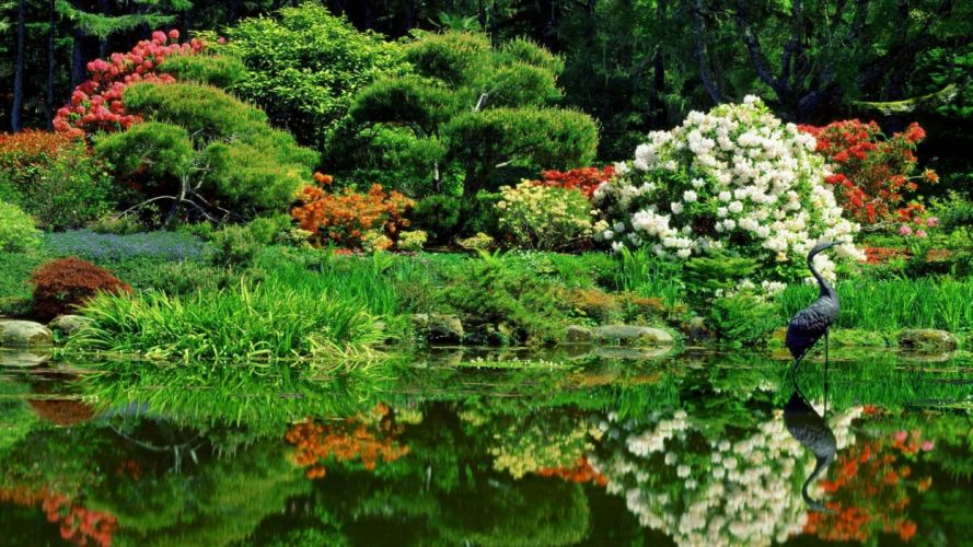 garden shore Oregon oriental parks wallpaper