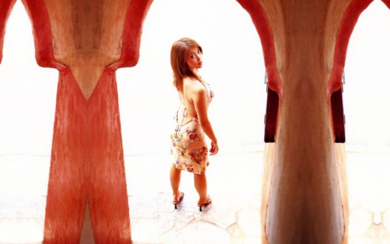 brunettes women models high heels Asians looking back wallpaper