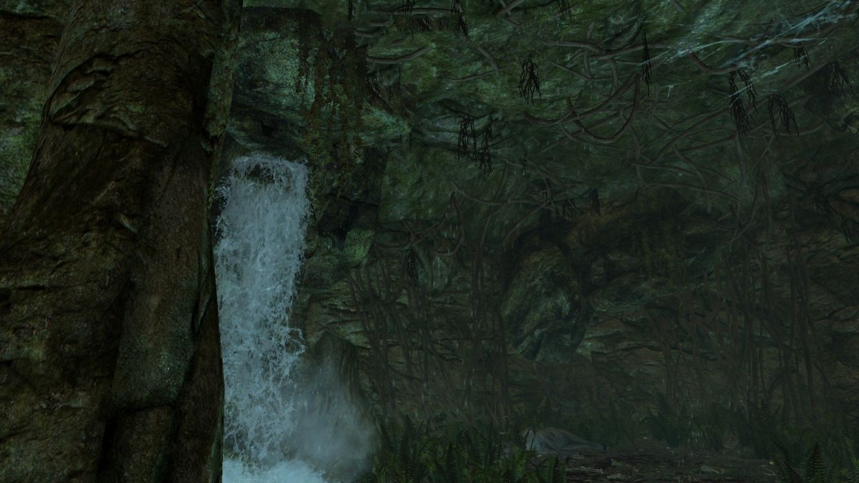caves waterfalls The Elder Scrolls V: Skyrim wallpaper