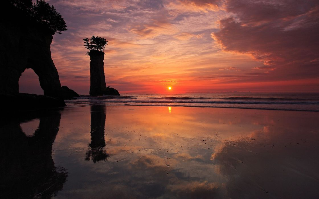 sunset mountains landscapes nature Canada rock formations sea wallpaper