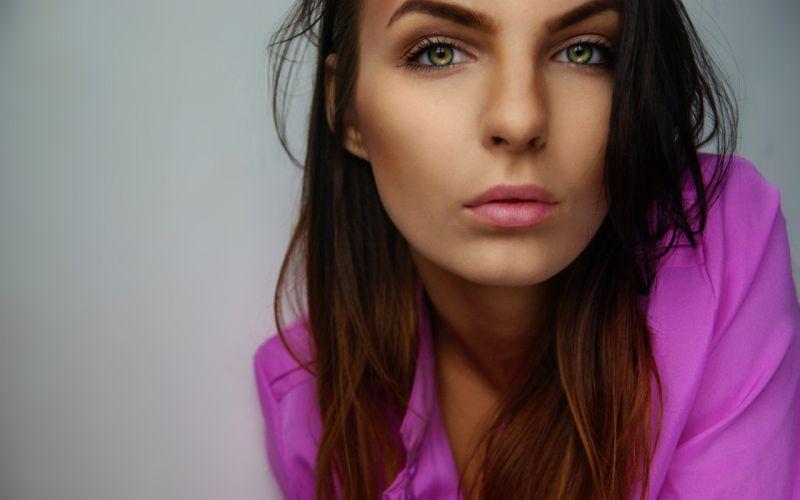 brunettes women green eyes dreams lilac wallpaper