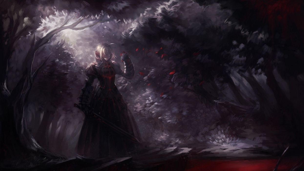 blondes nature black Fate/Stay Night trees dark forests weapons armor short hair Saber  flower petals swords Saber Alter Fate series wallpaper