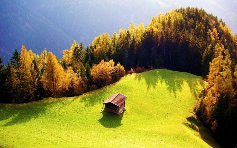 mountains landscapes forests cottage wallpaper