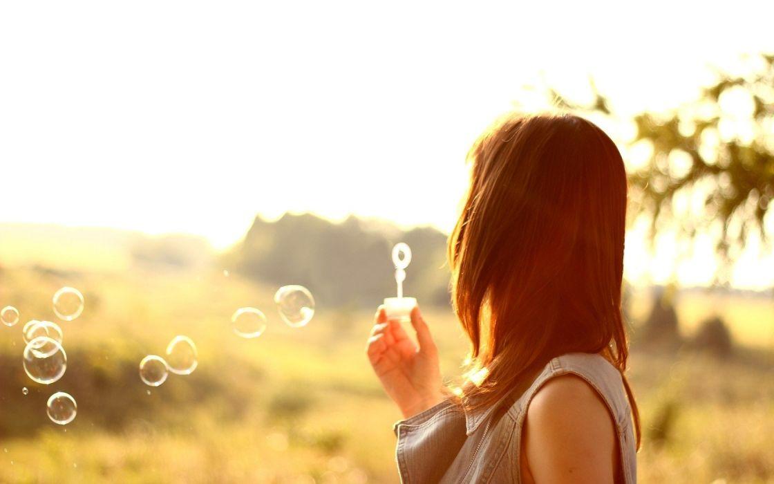 women nature bubbles bokeh sunlight blowing bubbles wallpaper
