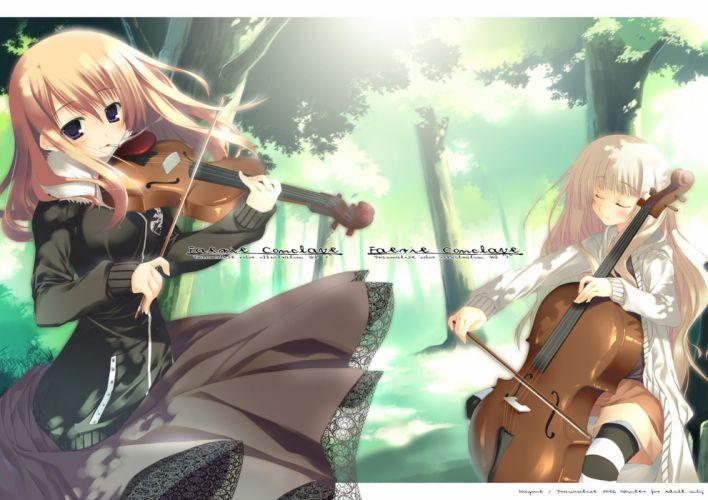 brunettes blondes long hair outdoors violins anime girls violinist wallpaper