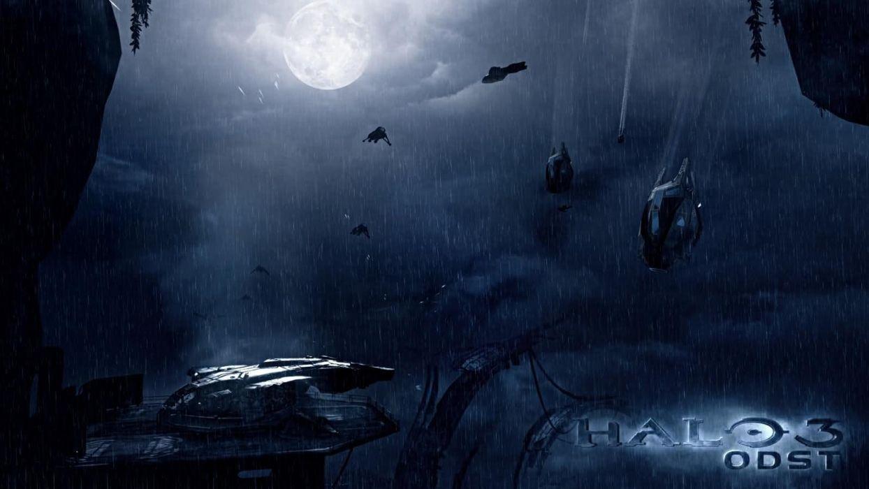 Video Games Landscapes Rain Halo Halo Odst Spirit Digital