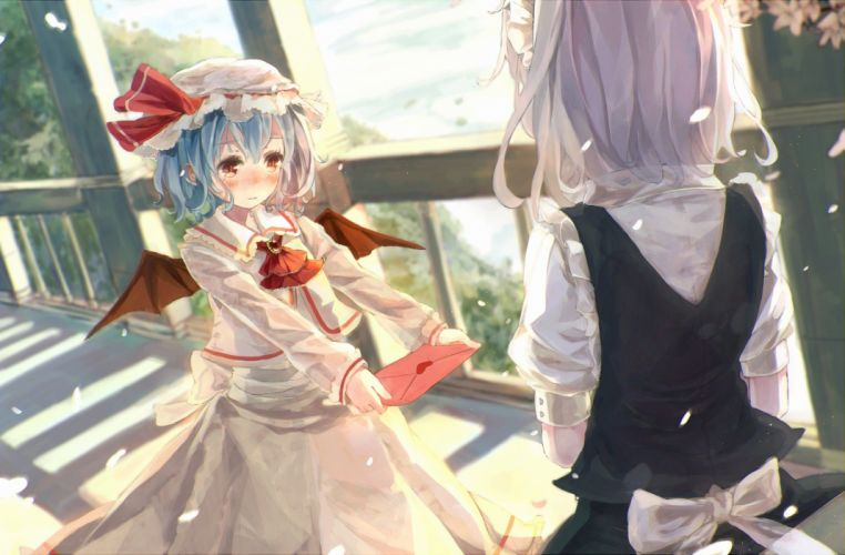 video games Touhou wings yuri Izayoi Sakuya Remilia Scarlet anime girls wallpaper