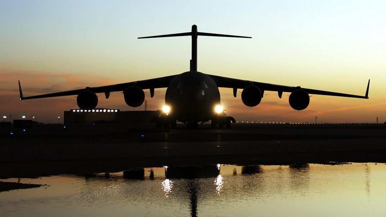 sunset aircraft C-17 Globemaster wallpaper