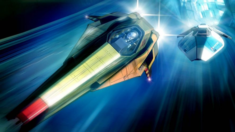 outer space Wipeout spaceships speed wallpaper