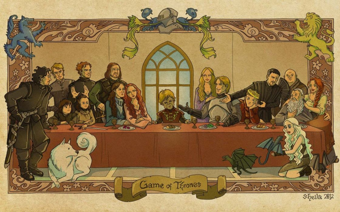 last supper The Last Supper Game of Thrones A Song of Ice and Fire Tyrion Lannister Eddard 'Ned' Stark Jon Snow Sansa Stark Arya Stark Daenerys Targaryen Ghost House Lannister House Stark Joffrey Baratheon Theon Greyjoy Cersei Lannister Catelyn  wallpaper