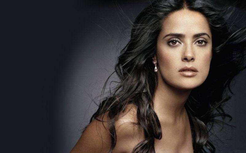 women close-up Salma Hayek actress celebrity Mexican faces wallpaper