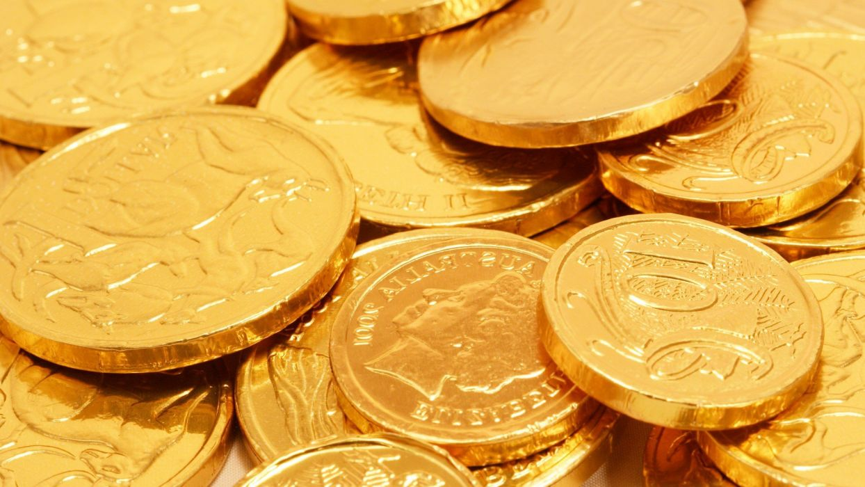 coins money chocolate gold wallpaper
