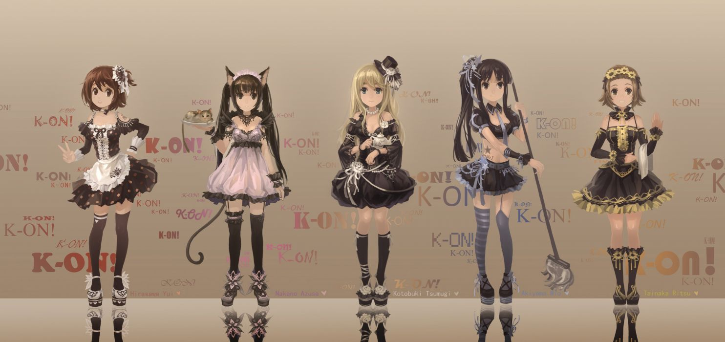 blondes tattoos tails dress K-ON! cats maids blue eyes animals tie skirts long hair nekomimi animal ears Hirasawa Yui short hair thigh highs Akiyama Mio brooms Tainaka Ritsu Kotobuki Tsumugi Nakano Azusa soft shading anime girls black hair striped legwear wallpaper