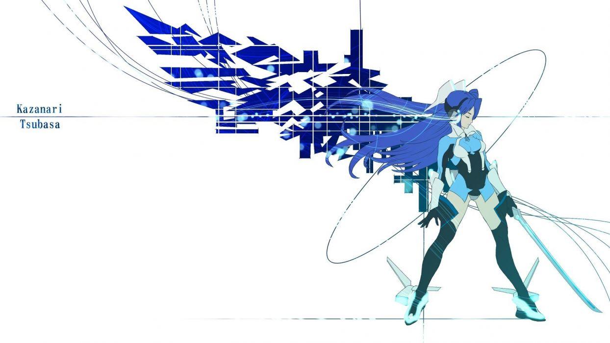 wings long hair blue hair armor Senki Zesshou Symphogear Kazanari Tsubasa wallpaper