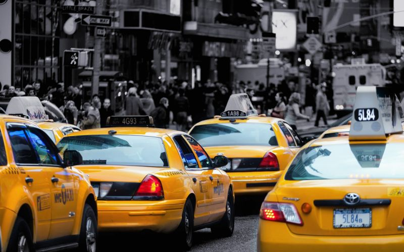 streets cars traffic New York City taxi vehicles selective coloring cities wallpaper
