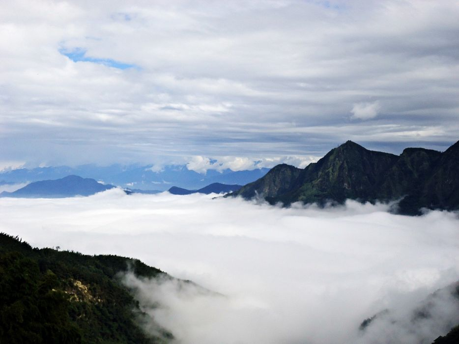mountains clouds nature trees Taiwan skies wallpaper