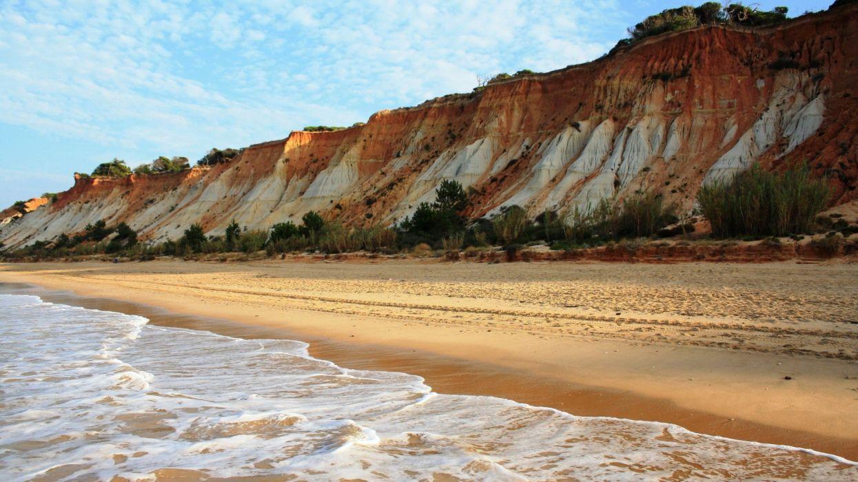 ocean landscapes nature coast waves Sandy beaches wallpaper