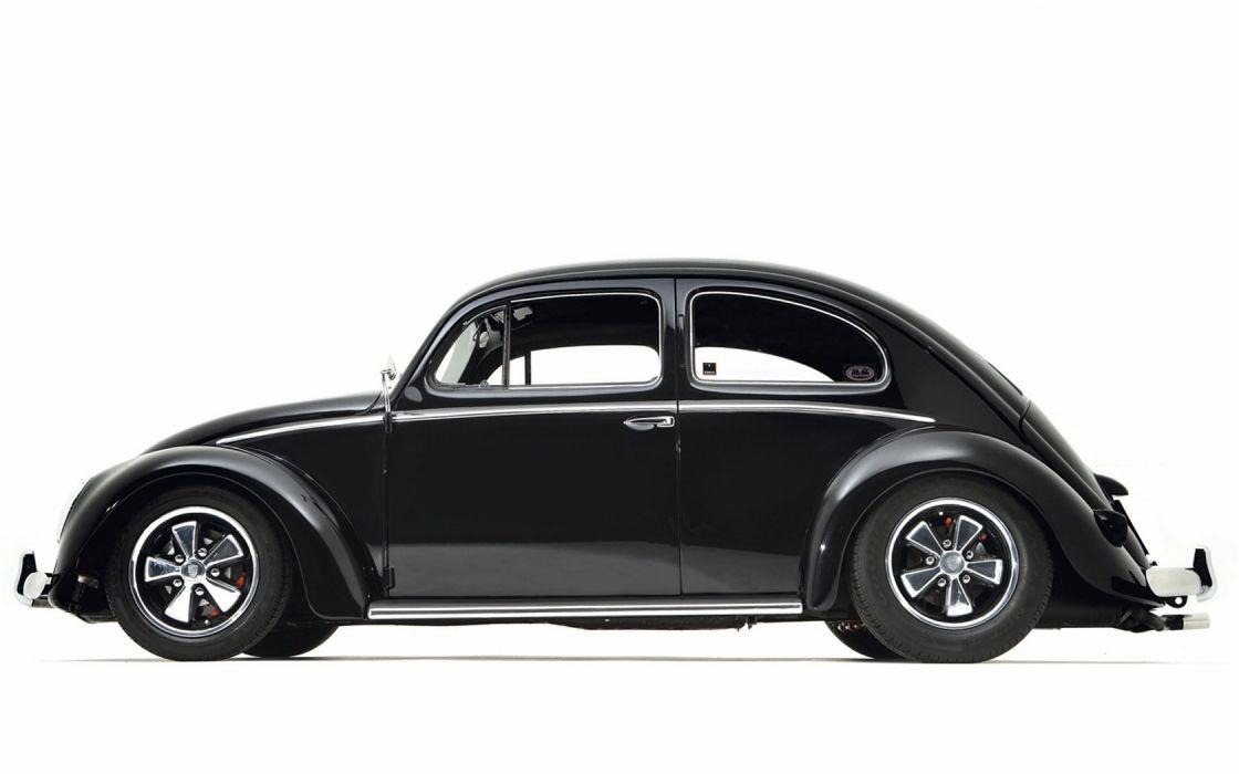 cars monochrome vehicles Volkswagen Beetle side view wallpaper