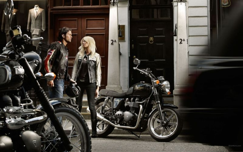 blondes women jeans leather jacket motorbikes Triumph Bonneville denim clothing Triumph Motorcycles girls with bikes wallpaper