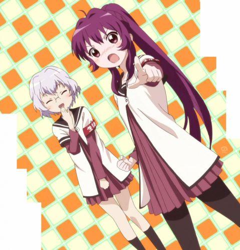 school uniforms blush Yuru Yuri anime girls Sugiura Ayano Ikeda Chitose sailor uniforms wallpaper