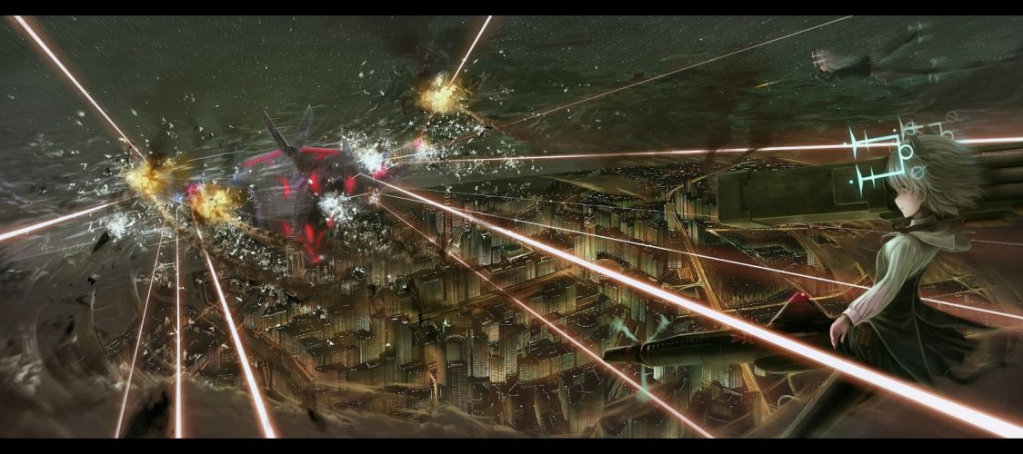 Strike Witches weapons vehicles white hair cities lasers wallpaper