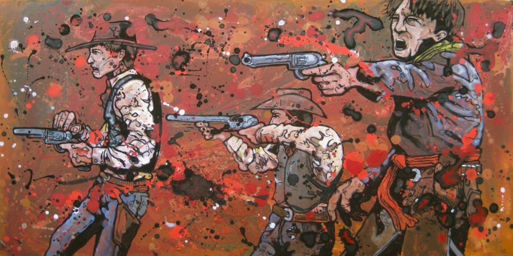 western battle weapon gun artwork cowboy wallpaper
