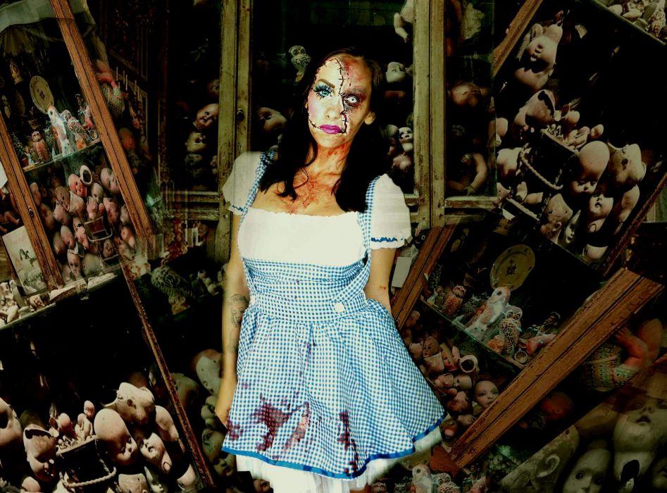 dark horror cosplay fetish girl wallpaper