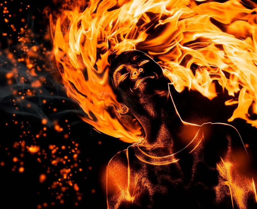fire girl mood happy fantasy wallpaper