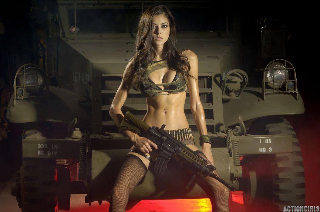 sexy babe military cosplay fetish weapon gun wallpaper