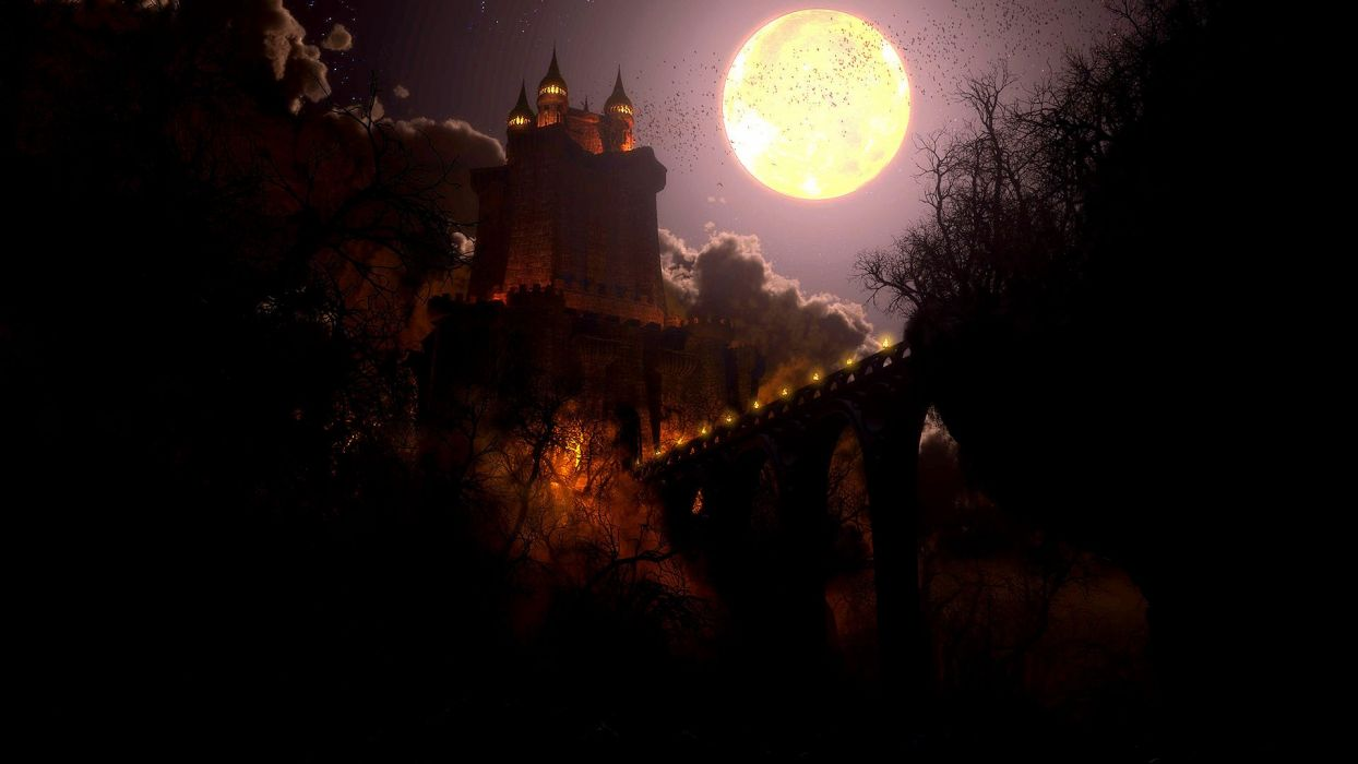 FRIGHT NIGHT comedy horror dark movie film castle fantasy night mood wallpaper