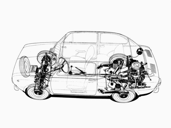 1964 Fiat 850 classic interior engine fs wallpaper