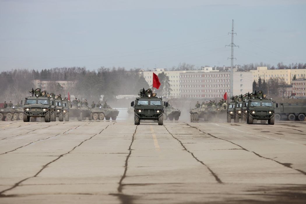 Russian Army Russia Parade Victory Day Parade 2014 rehearsal in Alabino GAZ-233014 Tigr red flag 4x4 wallpaper