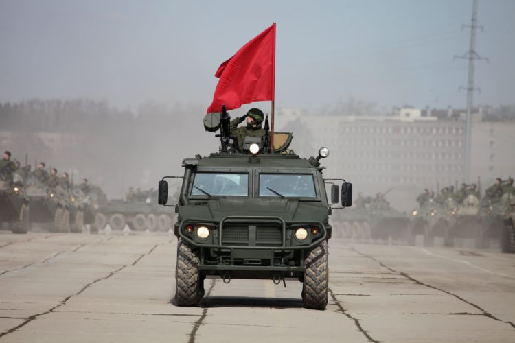 GAZ-233014 Tigr red flag Russian Army Russia Parade Victory Day Parade 2014 rehearsal in Alabino wallpaper