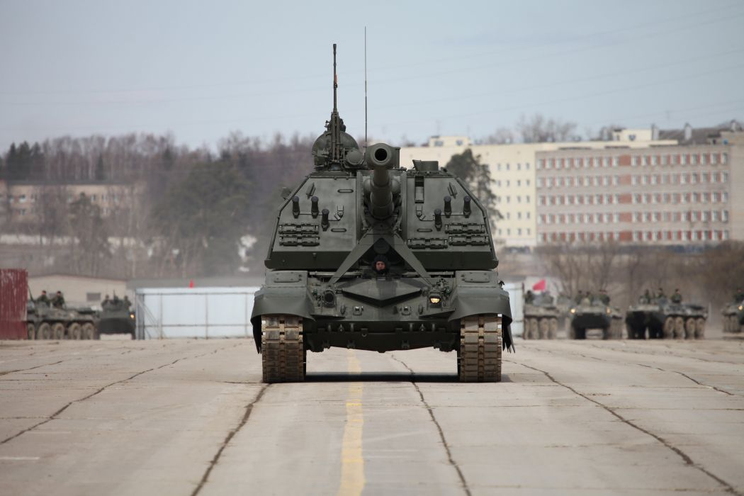 2S19M2 Msta-S SPH howtizer Russian Army Russia Parade Victory Day Parade 2014 rehearsal in Alabino  wallpaper